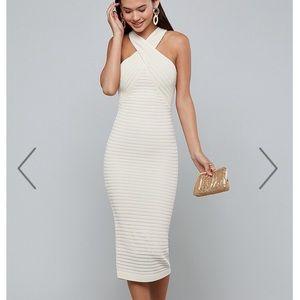 NWT bebe cream midi/maxi dress